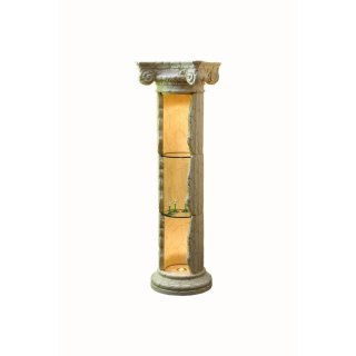 Glas Vitrine Vitrinen Standsäule Griechische Säule Ladeneinrichtung Fossil 164cm