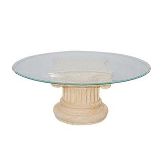 Runder Glastisch Couchtisch Marmortisch Fossiltisch Steinmöbel Wohnzimmertisch