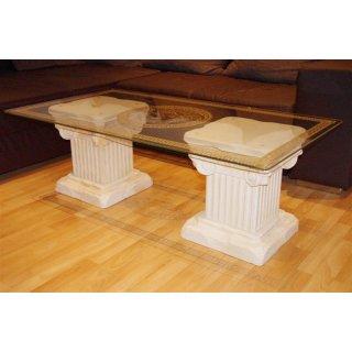 Couchtisch Steinmöbel Wohnzimmertisch Glastisch Versa Serie Säulentisch Medusa