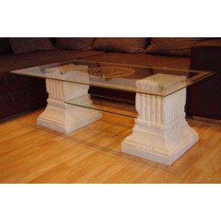 Couchtisch Wohnzimmertisch Glastisch Versa Serie Säulentisch Medusa 128cmx70cm