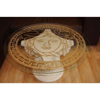 Runder Glastisch mit Medusa und Mäandermuster Versa Serie Couchtisch Steinmöbel