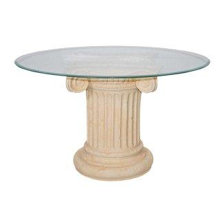 Antiker Runder Glas Esstisch Esszimmertisch Römertisch Küchentisch Säulentisch