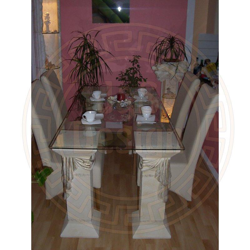 esstisch esstische tafeltisch glas tisch steinm bel fossilm. Black Bedroom Furniture Sets. Home Design Ideas