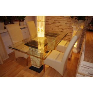 Glastisch Esstisch Küchentisch Tafeltisch Büro Versa Serie Marmortisch 160cm