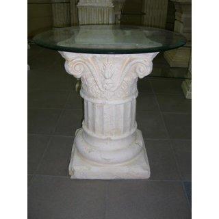 Runder Glas Beistelltisch Blumensäule Stand Deko Säule Antiker Nachttisch