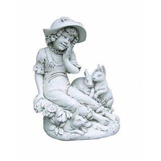 Steinfigur Gartenfigur Tierfigur Kinder Mädchenfigur Höhe: 72cm - 92KG