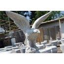 Adler mit Standsäule Greifvogel Falke Steinadler Weiß - Grau Höhe: 173cm
