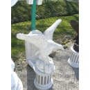 Adler mit Standsäule Greifvogel Falke Steinadler Weiß - Grau Höhe: 100cm