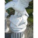Adler mit Standsäule Greifvogel Falke Steinadler Weiß - Grau Höhe: 165cm