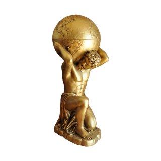 Atlas Mini Bar Globus auf dem Rücken Herkules Skulptur Griechische Figuren Gold