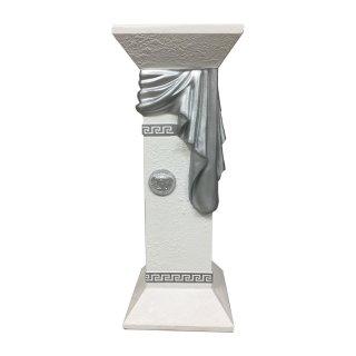 Blumensäule Blumenständer Versa Serie Säule Höhe: 80cm Weiß-Silber Antik Säule