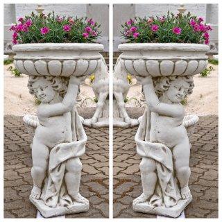 2 x gartenfiguren set steinfigur pflanzschale pflanzk bel for Beleuchtete gartenfiguren