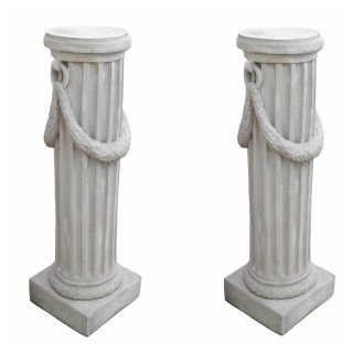 Antikes Wohndesign Spar-Set 2 x Griechischer Sockel Steinsäule Blumensäule Blumenständer Säule Gartensäule Sockelsäule Höhe: 116cm 316KG