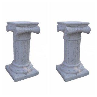 Antikes Wohndesign Spar-Set 2 x Steinsäule Sockelsäule Griechische Blumensäule Gartensäule Figurenständer 172KG Höhe: 70cm