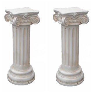 Antikes Wohndesign Spar-Set 2 x Steinsäule Sockelsäule Griechische Blumensäule Gartensäule Figurenständer 104KG Höhe: 73cm