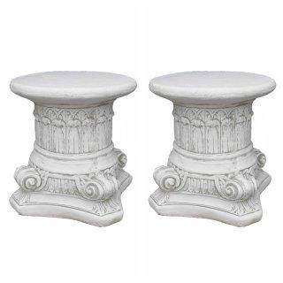 Antikes Wohndesign Spar-Set 2 x Steinsäule Sockelsäule Griechische Blumensäule Gartensäule Figurenständer 130KG Höhe: 40cm