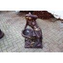 Gartenfigur Pflanzkübel Blumenschale Blumenkübel Steinfigur Bronze Optik H:102cm