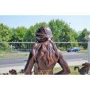 Nackte Gartenfigur Frauen Statue Steinfigur + Sockel Bronze Optik H:188cm