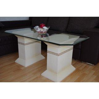 Rechteckiger Glastisch Couchtisch Wohnzimmertisch Steinmöbel 130cmx70cm H: 56cm