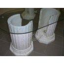 Ovaler Couchtisch Wohnzimmertisch Glastisch beleuchtet Säulentisch 120cmx60cm