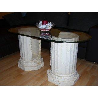 Ovaler Glastisch Couchtisch Steintisch Fossil Wohnzimmertisch Antiker 120cmx60cm