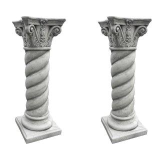 2 x Steinsäule Blumenständer Griechische Blumensäule Gartensäule Figurenständer