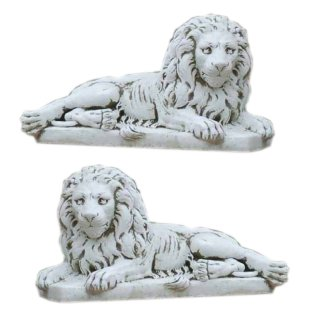 2 x XL Steinlöwen Gartenfigur Steinfigur Torwächter Türwächter Tierfiguren Löwe
