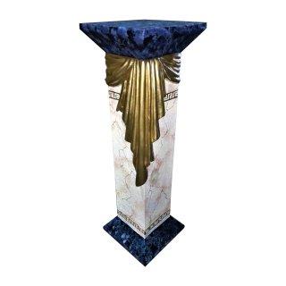 Griechische Blumensäule Versa Serie Marmor Blau Beige Mäandermuster Standsäule