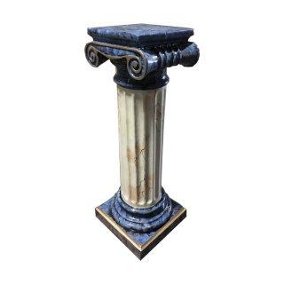 Marmorsäule Blumensäule Griechische Standsäule Blumenständer Blau Beige Gold