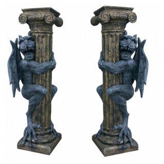 2x Drachenfigur Gothic Mystic Fantasy Tierfiguren Drachenfigur Blumensäule Säule