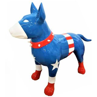 Lebensgroßer Bullterrier Captain America Edition Bully Modern Art Lack Design