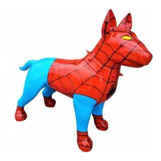 Lebensgroßer Bullterrier Spiderman Edition American Bully Hundefigur Tierfiguren