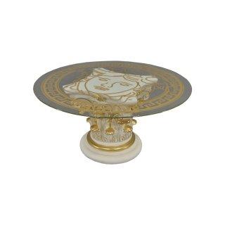 Runder Glastisch Couchtisch Wohnzimmertisch Steinmöbel Versa Serie Creme Gold
