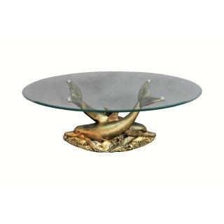 Ovaler Glastisch Wohnzimmertisch Couchtisch Figurentisch Delfinentisch Delphin