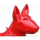 Lebensgroßer Bullterrier Terrier American Bully Rassehund Kampfhund Lack Rot