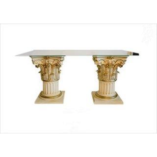 Küchentisch Esstisch Tafeltisch Glastisch Bürotisch Barock Clubtisch Creme Gold