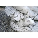 Steinfigur Dekofigur Mädchenfigur mit Hasen Kinderfigur Gartenfiguren Tierfigur